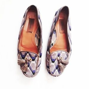 Missoni | Chevron Tassel Loafers in Blue